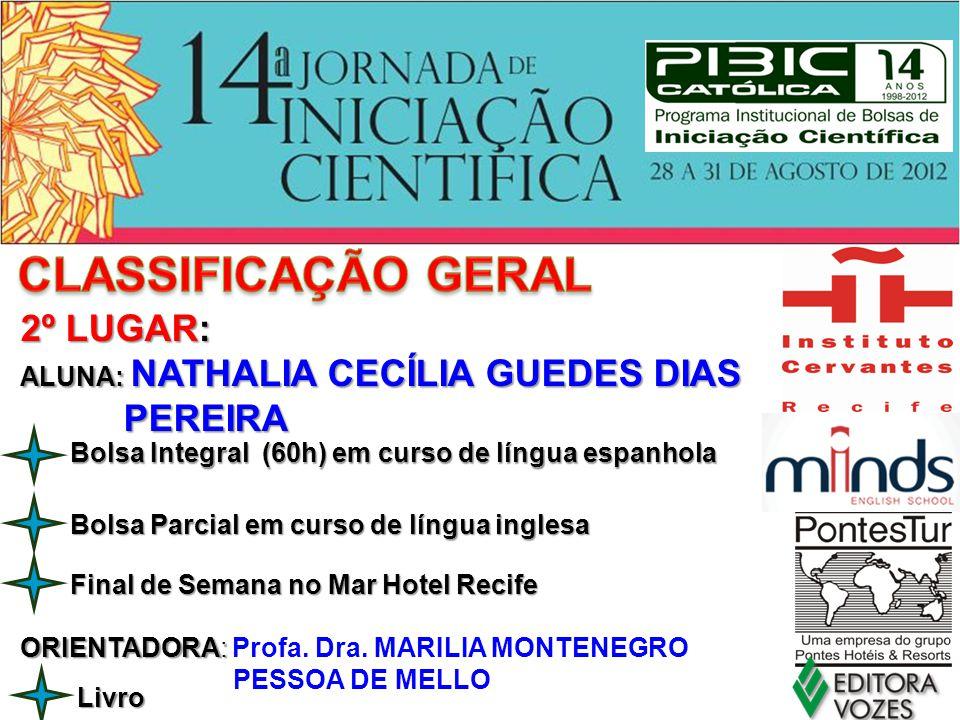 Final de Semana no Mar Hotel Recife 2º LUGAR: ALUNA: NATHALIA CECÍLIA GUEDES DIAS PEREIRA PEREIRA ORIENTADORA: ORIENTADORA: Profa. Dra. MARILIA MONTEN