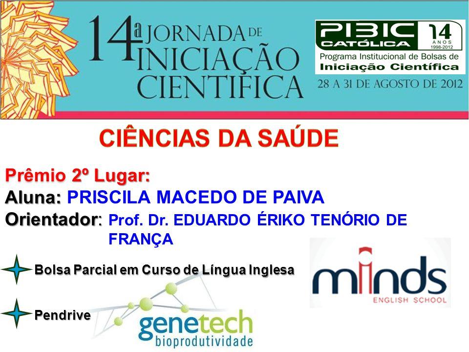 Prêmio 2º Lugar: Aluna: Aluna: PRISCILA MACEDO DE PAIVA Orientador: Orientador: Prof. Dr. EDUARDO ÉRIKO TENÓRIO DE FRANÇA Pendrive Bolsa Parcial em Cu