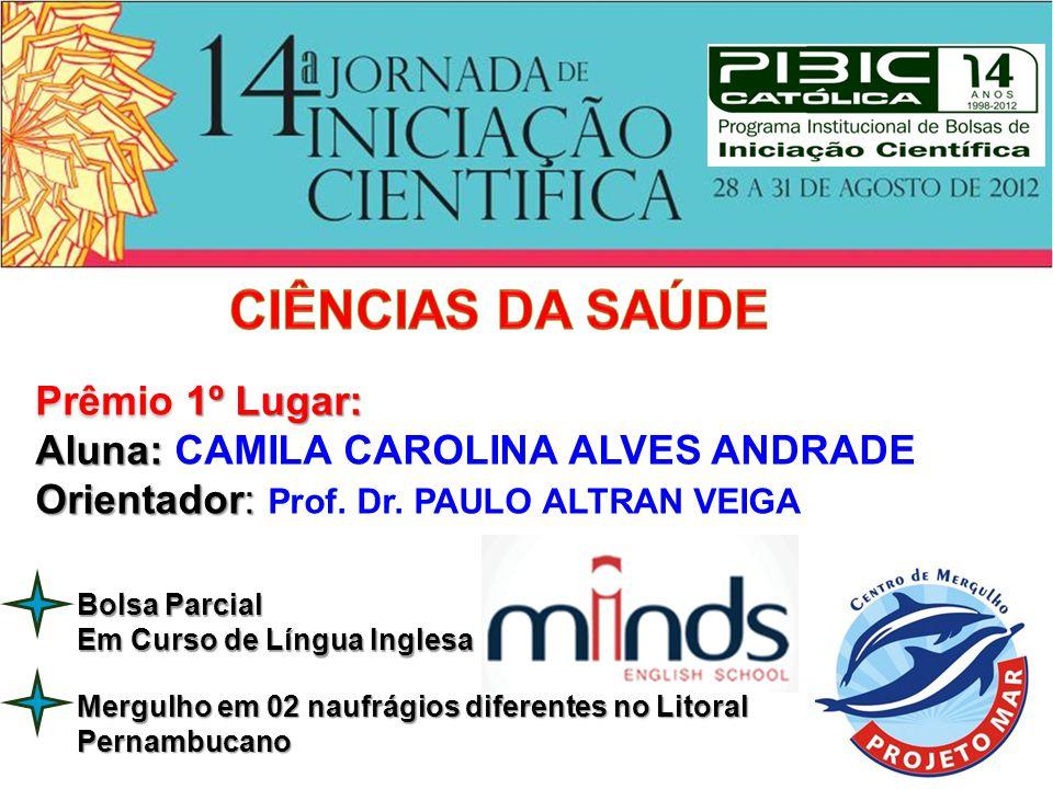 Prêmio 2º Lugar: Aluna: ISADORA MARIA BARBOSA DE LIMA ARAÚJO ARAÚJO Orientadora: Orientadora: Profa.