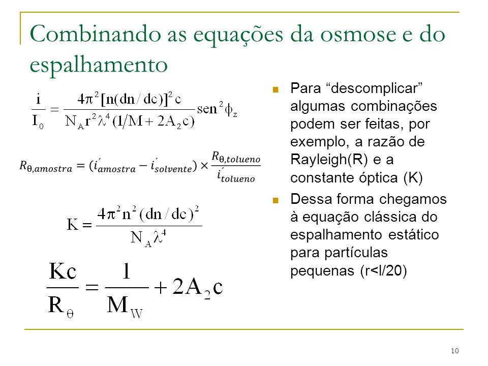 """Combinando as equações da osmose e do espalhamento Para """"descomplicar"""" algumas combinações podem ser feitas, por exemplo, a razão de Rayleigh(R) e a c"""
