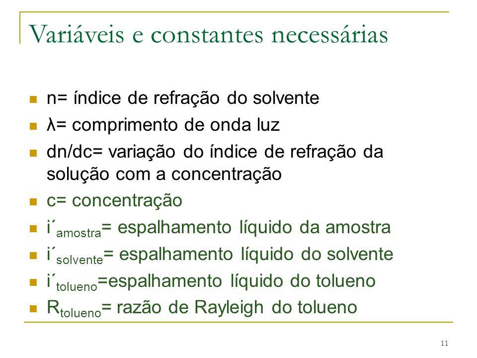 Variáveis e constantes necessárias n= índice de refração do solvente λ= comprimento de onda luz dn/dc= variação do índice de refração da solução com a