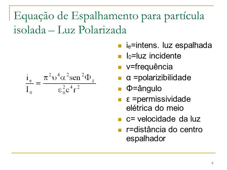 Equação de Espalhamento para partícula isolada – Luz Polarizada i e =intens. luz espalhada I 0 =luz incidente v=frequência α =polarizibilidade Φ=ângul