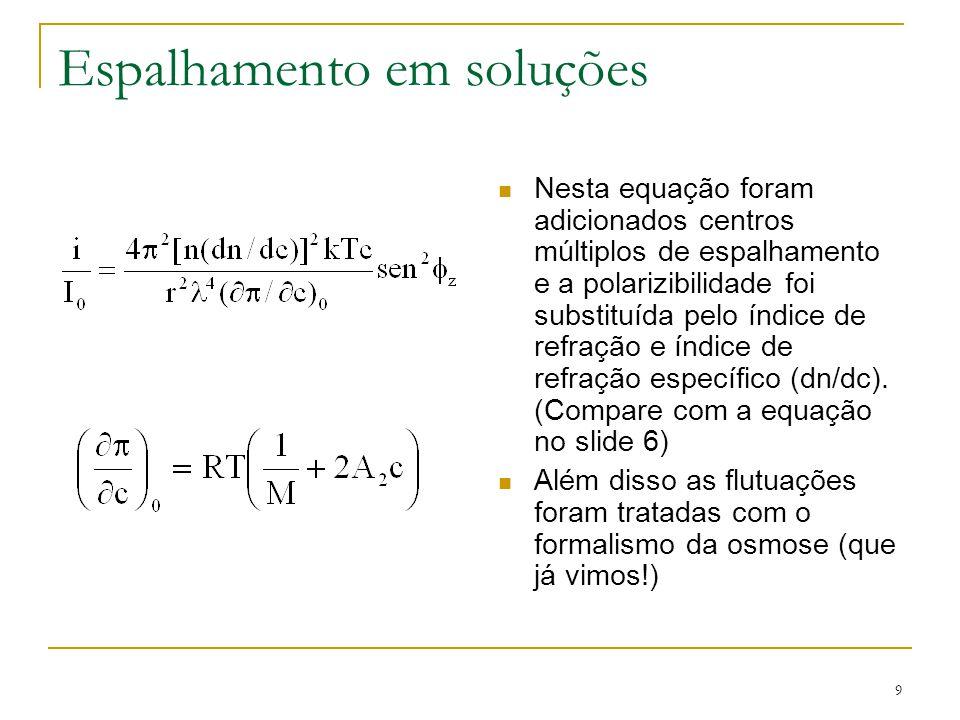 Espalhamento em soluções Nesta equação foram adicionados centros múltiplos de espalhamento e a polarizibilidade foi substituída pelo índice de refraçã