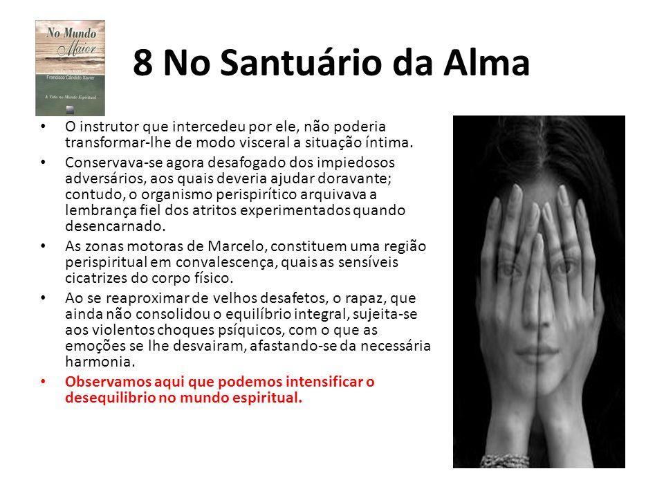 8 No Santuário da Alma O instrutor que intercedeu por ele, não poderia transformar-lhe de modo visceral a situação íntima. Conservava-se agora desafog