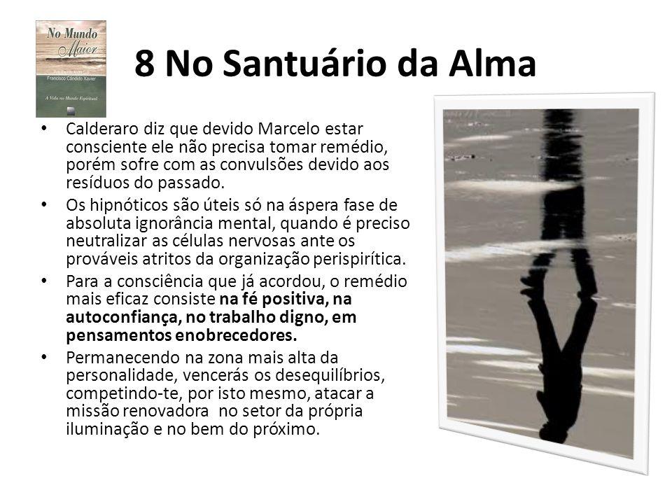 8 No Santuário da Alma Calderaro diz que devido Marcelo estar consciente ele não precisa tomar remédio, porém sofre com as convulsões devido aos resíd