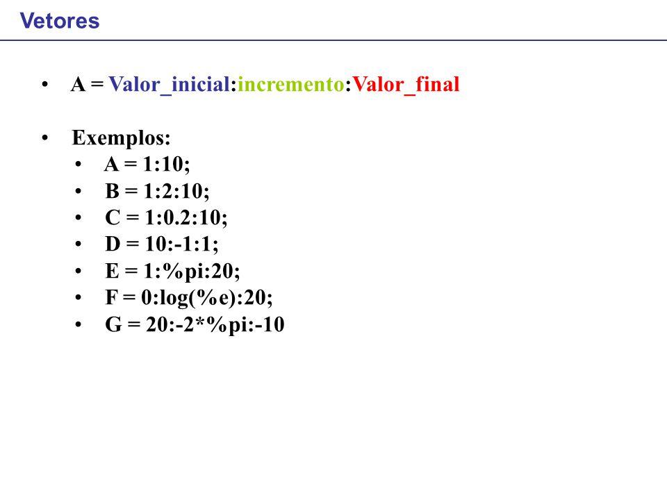 Vetores A = Valor_inicial:incremento:Valor_final Exemplos: A = 1:10; B = 1:2:10; C = 1:0.2:10; D = 10:-1:1; E = 1:%pi:20; F = 0:log(%e):20; G = 20:-2*