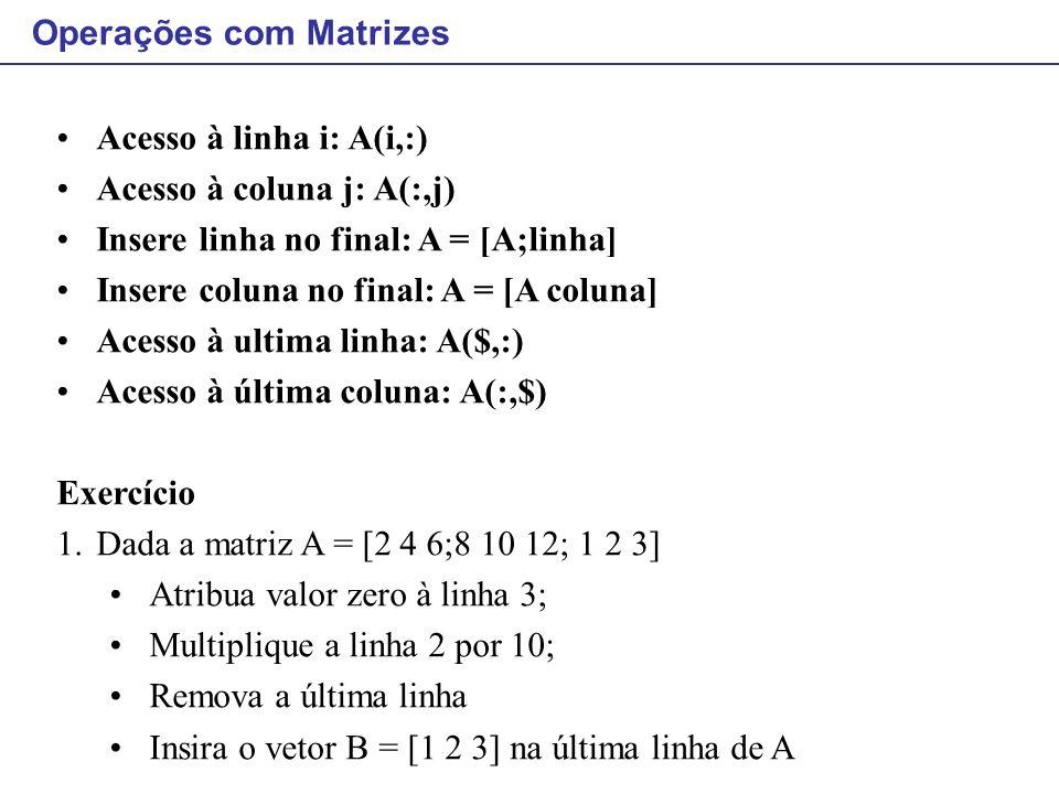 Acesso à linha i: A(i,:) Acesso à coluna j: A(:,j) Insere linha no final: A = [A;linha] Insere coluna no final: A = [A coluna] Acesso à ultima linha:
