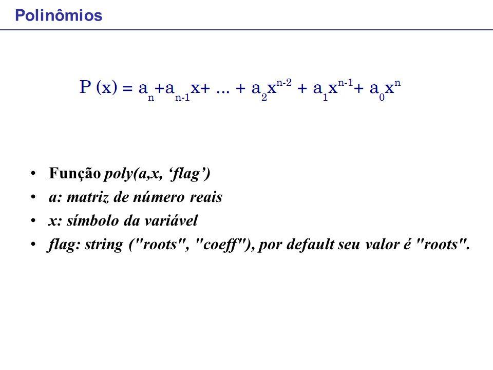 Polinômios Função poly(a,x, 'flag') a: matriz de número reais x: símbolo da variável flag: string (