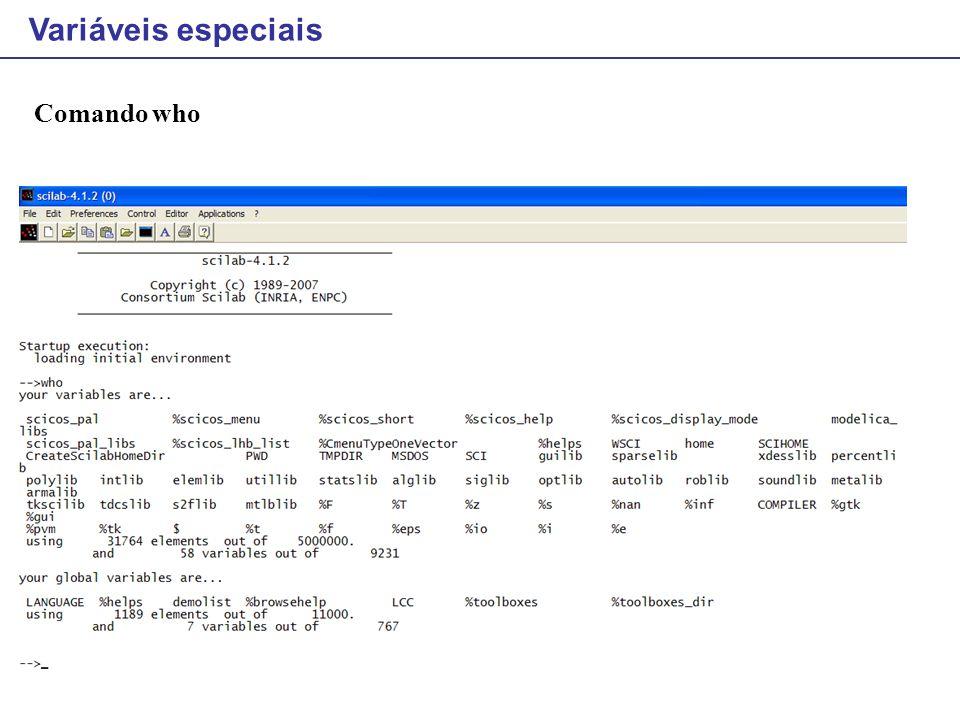 Bar: mostra graficamente um histograma Exemplo h = [1 4 5 10 8 7 4 3 1]; bar(h); f = [0.3 0.1 0.005 0.01 0.2 0.12 0.43 0.5 0.32 0.12 0.15]; x = 0:0.1:1; scf(); bar(x,f,'r');