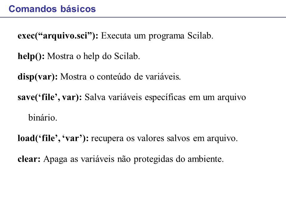 Comandos para iteração: while O laço while Operadores permitidos: == ou = (igual a) < (menor que) > (maior que) <= (menor ou igual) >= (maior ou igual) <> ou ~= (diferente) Exemplo: x =1; v = []; while x <= 16; v = [v x]; x = x*2; end