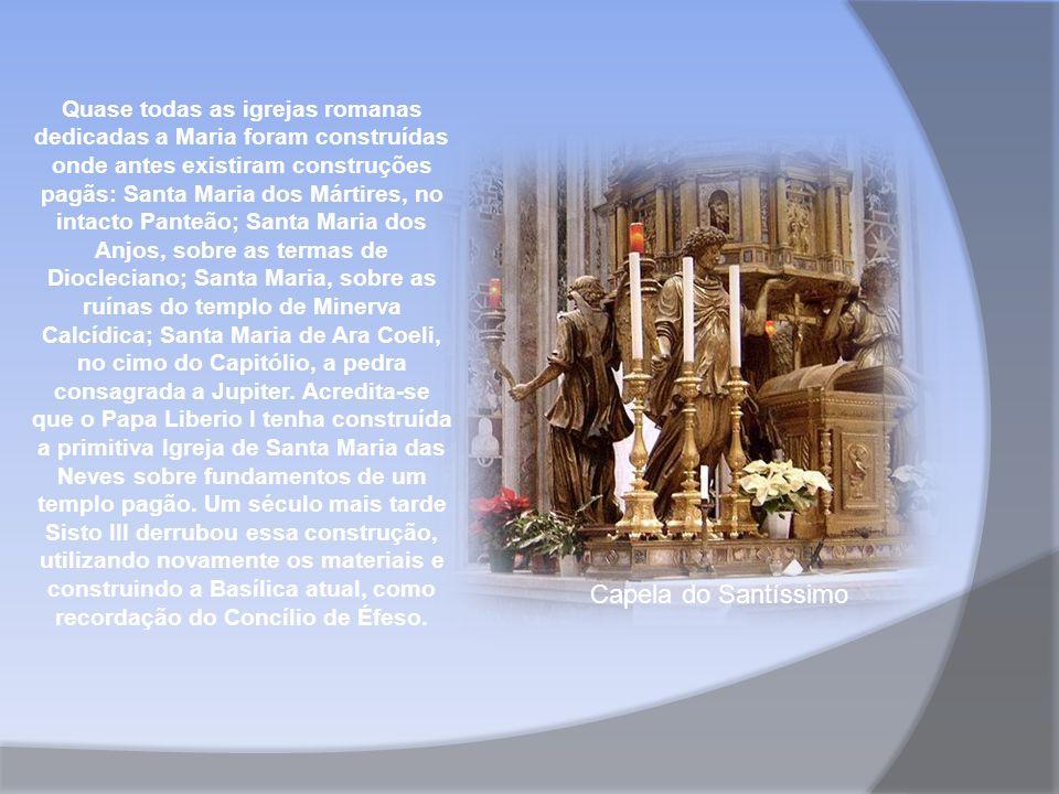 Quase todas as igrejas romanas dedicadas a Maria foram construídas onde antes existiram construções pagãs: Santa Maria dos Mártires, no intacto Panteão; Santa Maria dos Anjos, sobre as termas de Diocleciano; Santa Maria, sobre as ruínas do templo de Minerva Calcídica; Santa Maria de Ara Coeli, no cimo do Capitólio, a pedra consagrada a Jupiter.