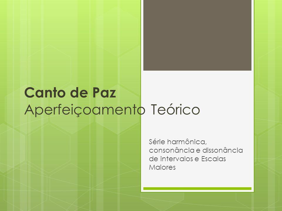 Canto de Paz Aperfeiçoamento Teórico Série harmônica, consonância e dissonância de intervalos e Escalas Maiores