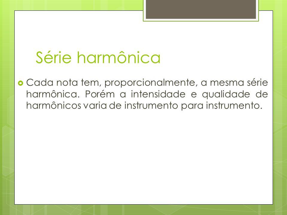 Série harmônica  Cada nota tem, proporcionalmente, a mesma série harmônica. Porém a intensidade e qualidade de harmônicos varia de instrumento para i