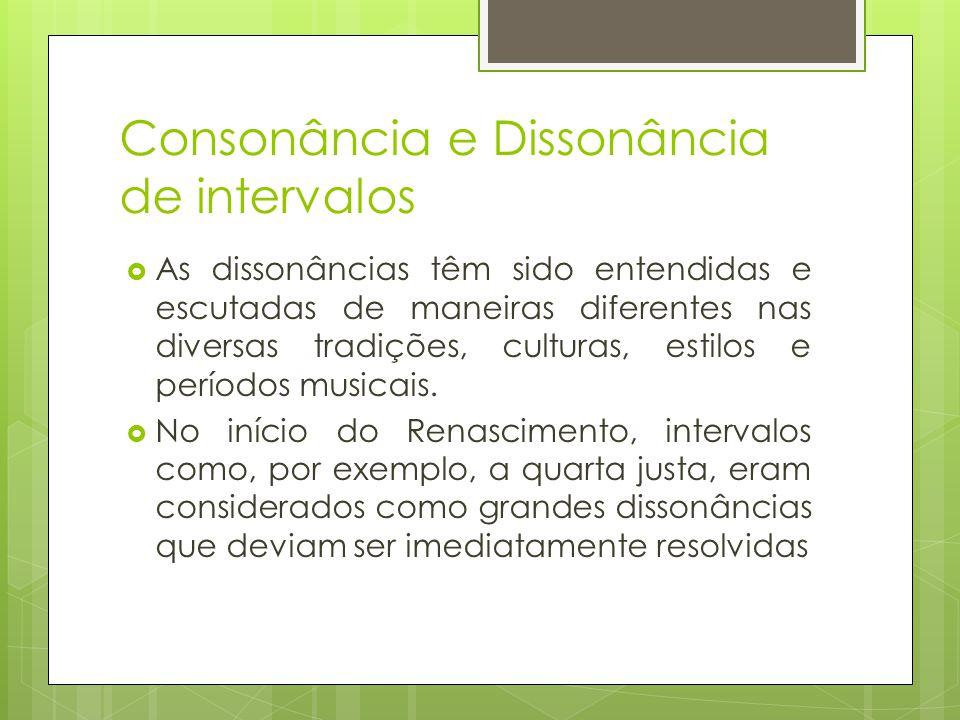 Consonância e Dissonância de intervalos  As dissonâncias têm sido entendidas e escutadas de maneiras diferentes nas diversas tradições, culturas, est