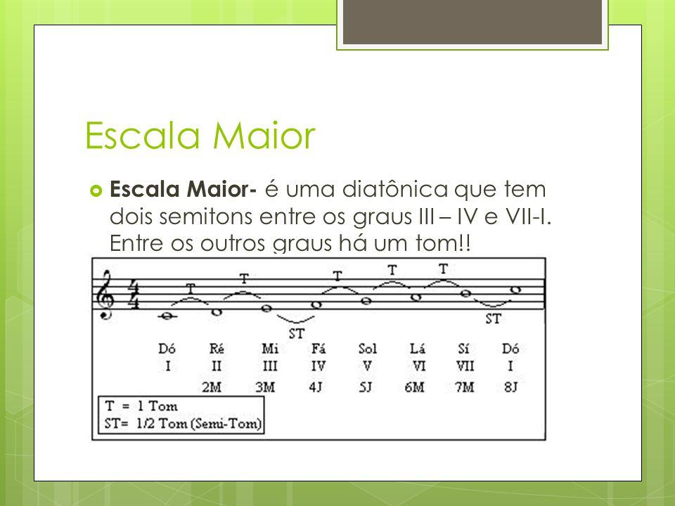 Escala Maior  Escala Maior- é uma diatônica que tem dois semitons entre os graus III – IV e VII-I. Entre os outros graus há um tom!!