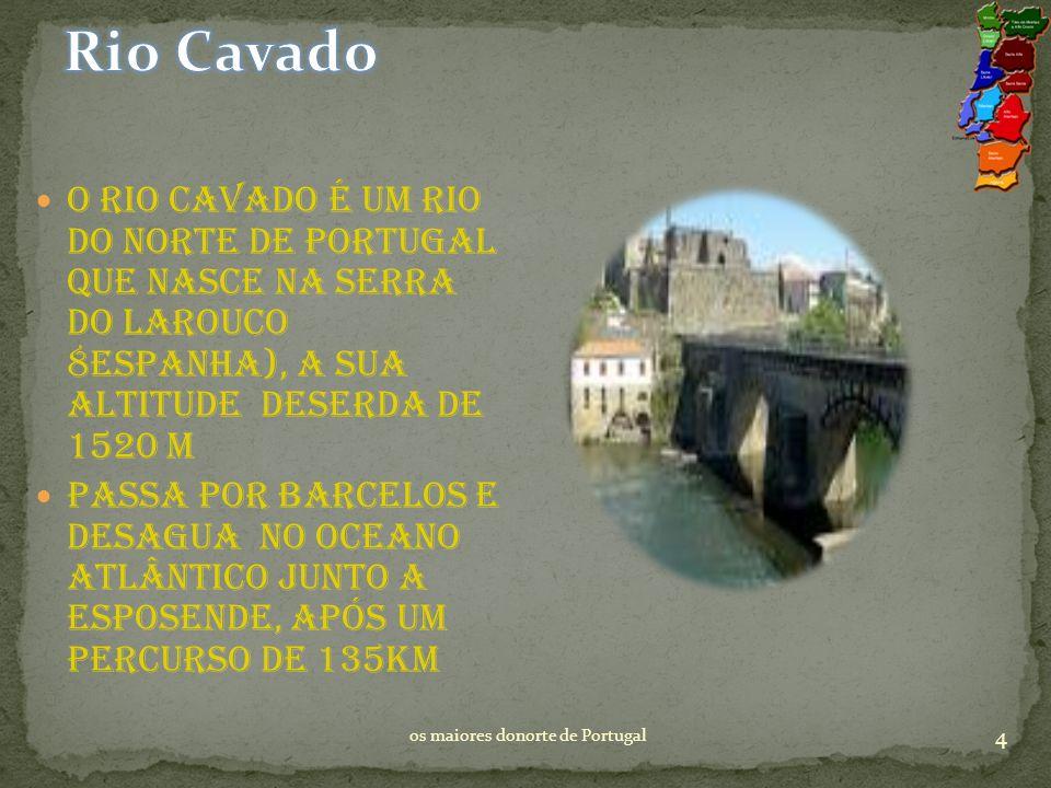 O rio Cavado é um rio do norte De Portugal que nasce na serra do Larouco 8Espanha), a sua altitude Deserda de 1520 m Passa por Barcelos e desagua no Oceano Atlântico junto a Esposende, após um percurso de 135km 4 os maiores donorte de Portugal