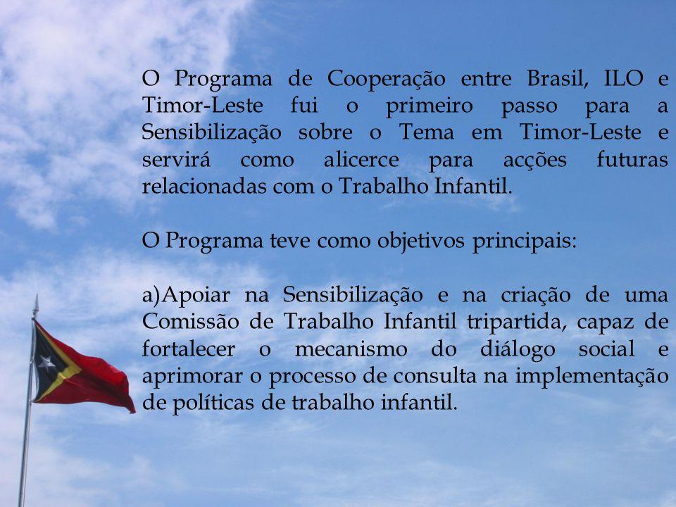 O Programa de Cooperação entre Brasil, ILO e Timor-Leste fui o primeiro passo para a Sensibilização sobre o Tema em Timor-Leste e servirá como alicerc