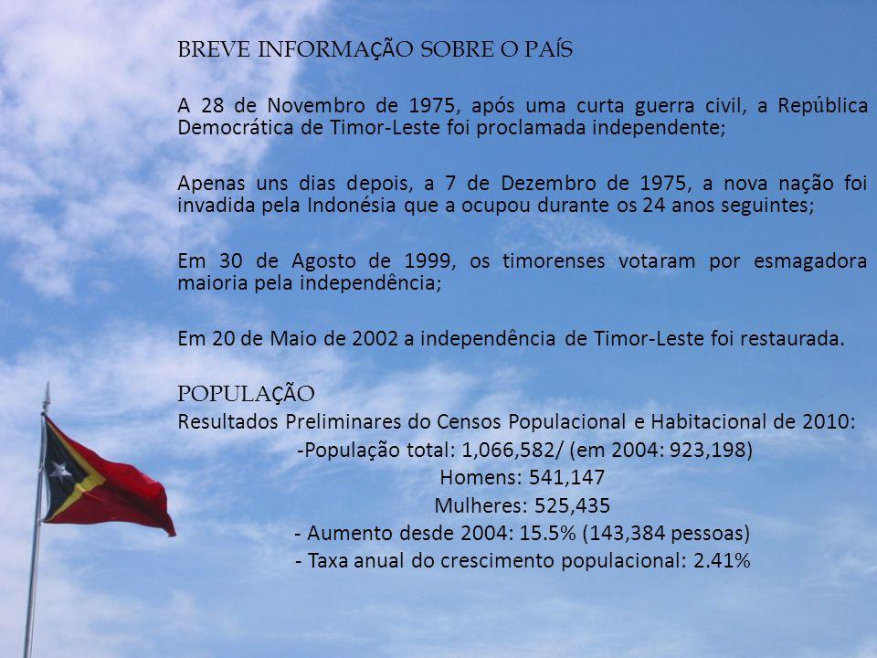 BREVE INFORMA ÇÃ O SOBRE O PA Í S A 28 de Novembro de 1975, após uma curta guerra civil, a Rep ú blica Democrática de Timor-Leste foi proclamada indep