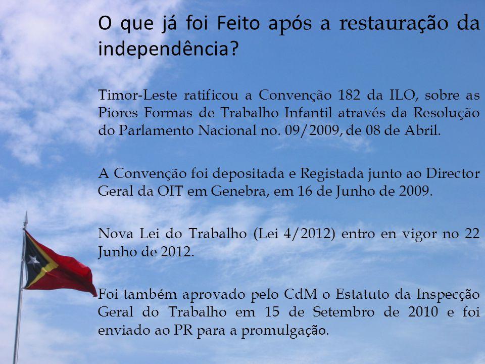O que já foi Feito a p ó s a restaura çã o da independência? Timor-Leste ratificou a Convenção 182 da ILO, sobre as Piores Formas de Trabalho Infantil