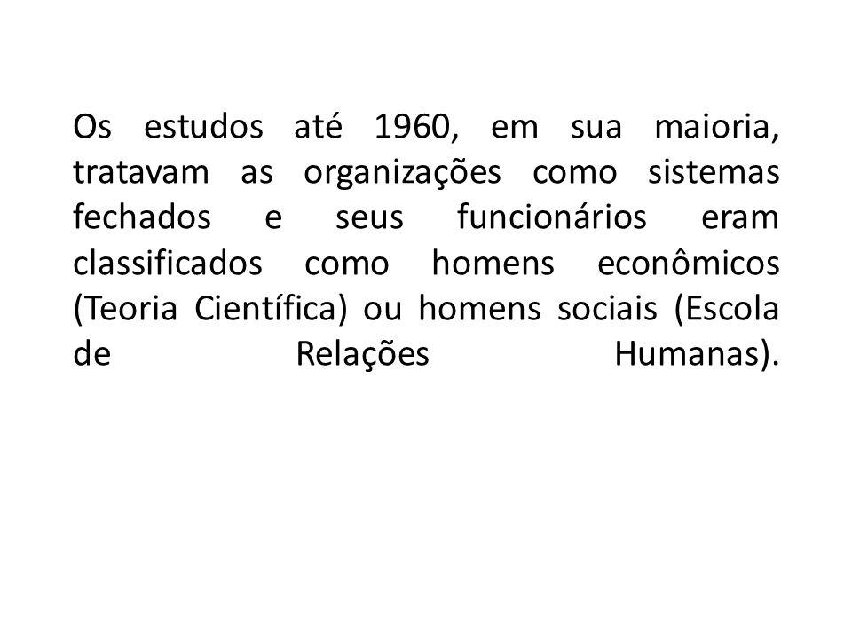 Os estudos até 1960, em sua maioria, tratavam as organizações como sistemas fechados e seus funcionários eram classificados como homens econômicos (Te
