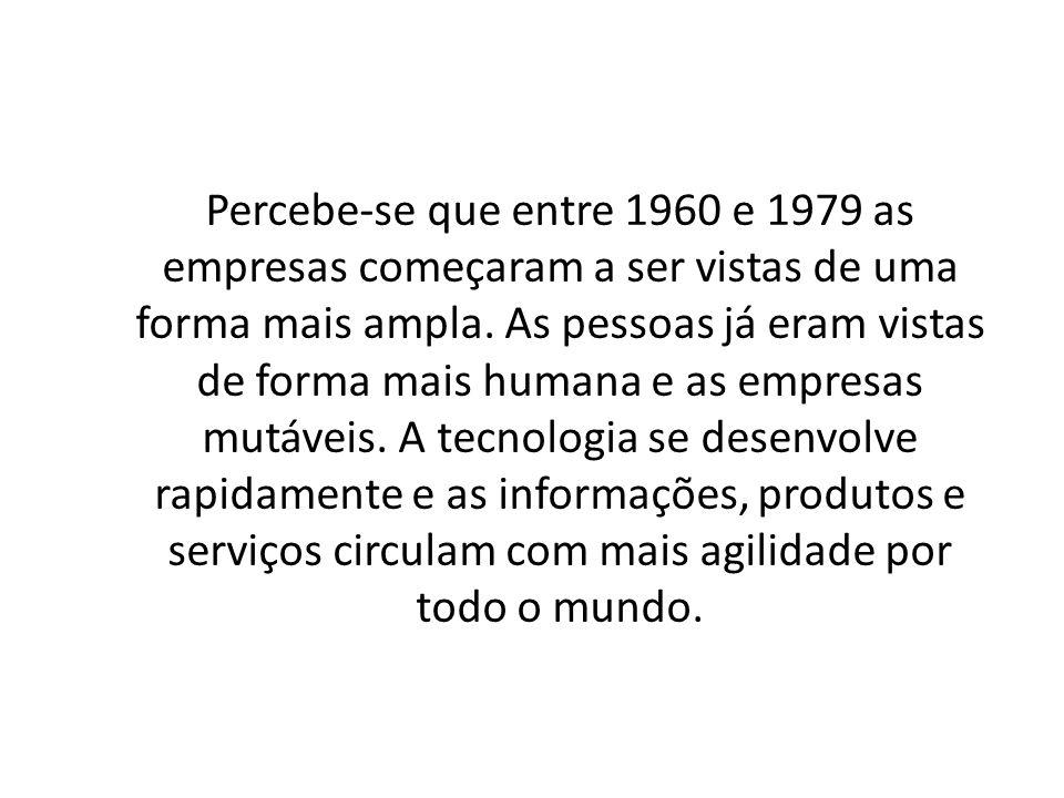 Percebe-se que entre 1960 e 1979 as empresas começaram a ser vistas de uma forma mais ampla. As pessoas já eram vistas de forma mais humana e as empre