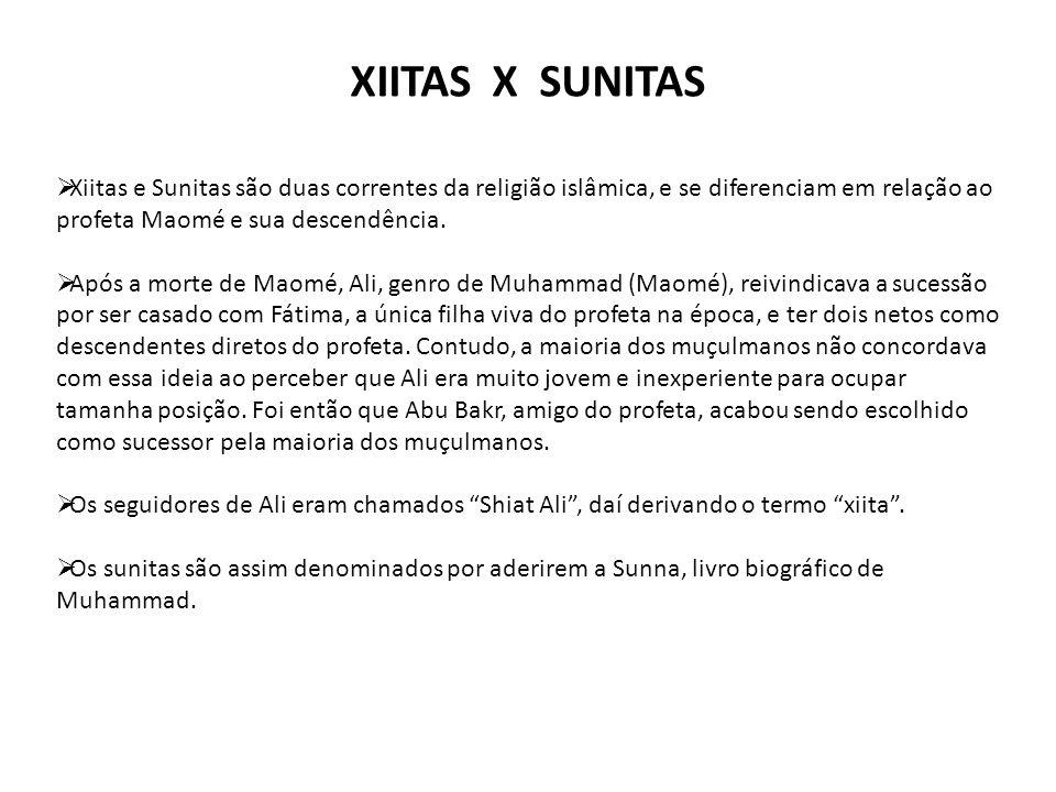 XIITAS X SUNITAS  Xiitas e Sunitas são duas correntes da religião islâmica, e se diferenciam em relação ao profeta Maomé e sua descendência.  Após a