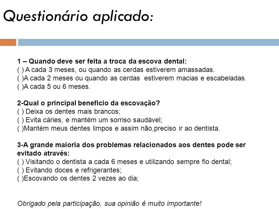 Questionário aplicado: 1 – Quando deve ser feita a troca da escova dental: ( ) A cada 3 meses, ou quando as cerdas estiverem amassadas. ( )A cada 2 me