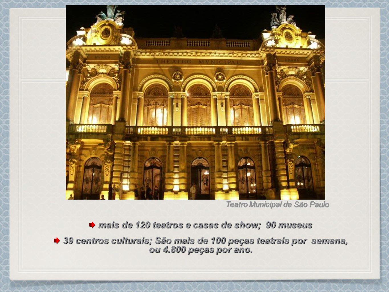 mais de 120 teatros e casas de show; 90 museus mais de 120 teatros e casas de show; 90 museus 39 centros culturais; São mais de 100 peças teatrais por