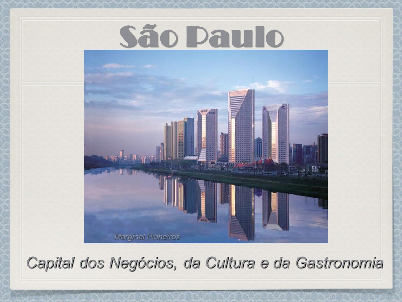 O Metrô da cidade de São Paulo, considerado um dos mais modernos e confortáveis do mundo, transporta 2,5 milhões de pessoas por dia Pela Avenida Paulista passam mais de 5.700 carros e 1.400 ônibus por hora em horários de pico A Bovespa existe a mais de 100 anos e é o maior centro de negociação com ações da América Latina Avenida Paulista