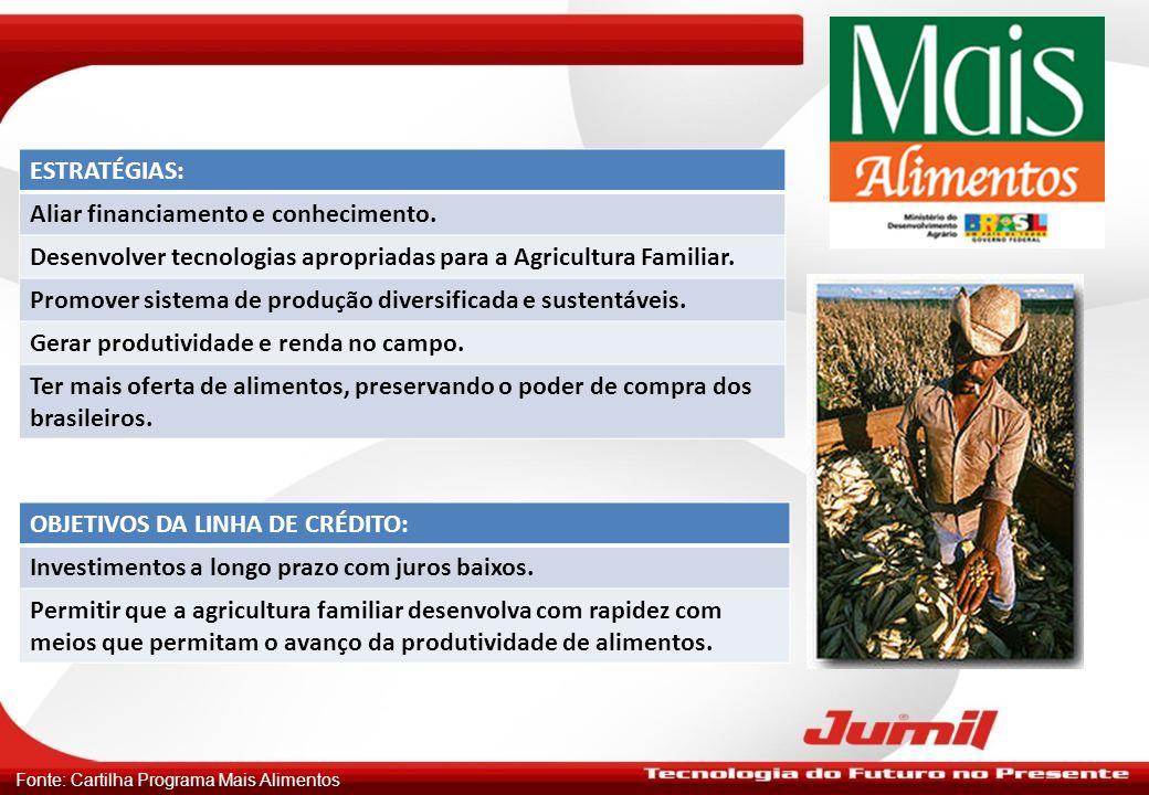 Fonte: Cartilha Programa Mais Alimentos ESTRATÉGIAS: Aliar financiamento e conhecimento. Desenvolver tecnologias apropriadas para a Agricultura Famili