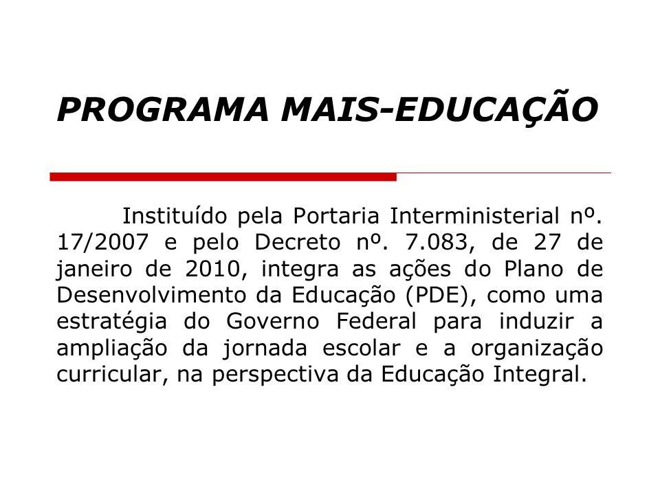 PROGRAMA MAIS-EDUCAÇÃO Instituído pela Portaria Interministerial nº. 17/2007 e pelo Decreto nº. 7.083, de 27 de janeiro de 2010, integra as ações do P