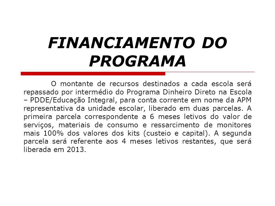 FINANCIAMENTO DO PROGRAMA O montante de recursos destinados a cada escola será repassado por intermédio do Programa Dinheiro Direto na Escola – PDDE/E