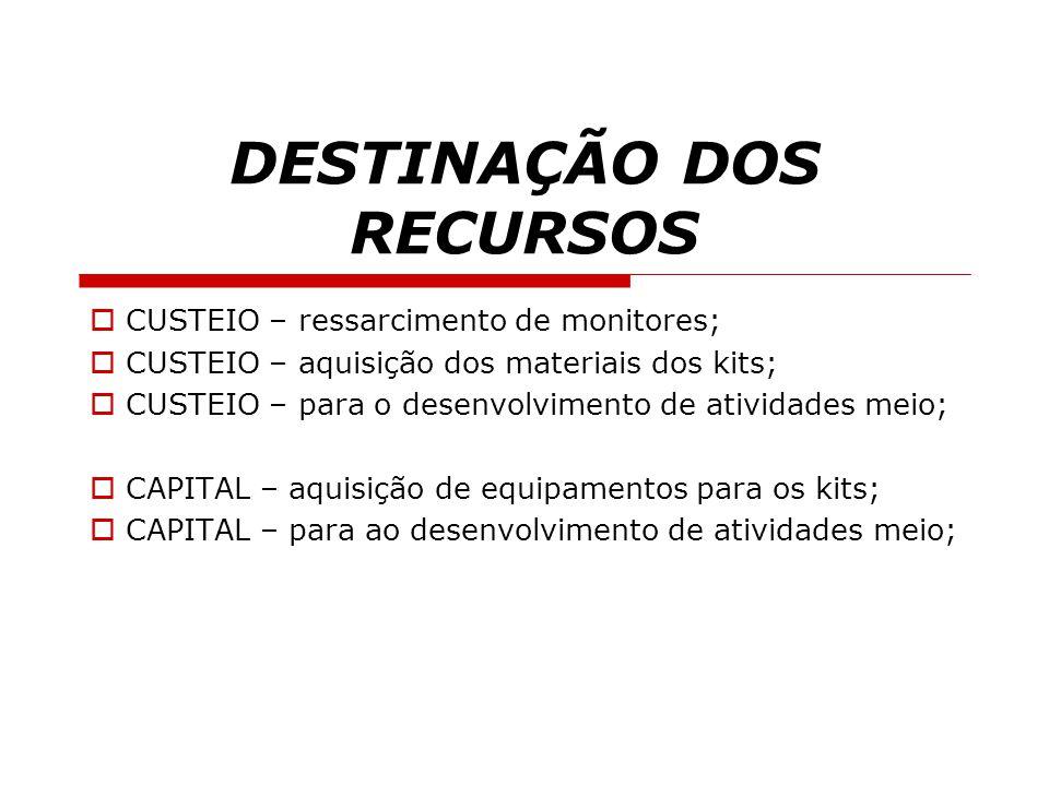 DESTINAÇÃO DOS RECURSOS  CUSTEIO – ressarcimento de monitores;  CUSTEIO – aquisição dos materiais dos kits;  CUSTEIO – para o desenvolvimento de at