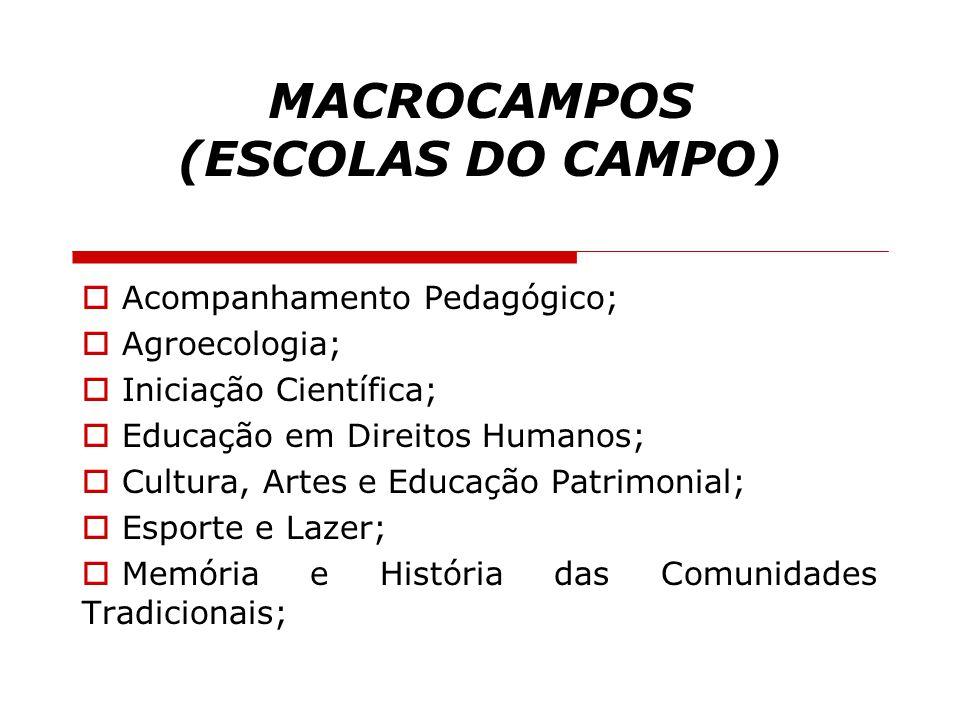 MACROCAMPOS (ESCOLAS DO CAMPO)  Acompanhamento Pedagógico;  Agroecologia;  Iniciação Científica;  Educação em Direitos Humanos;  Cultura, Artes e