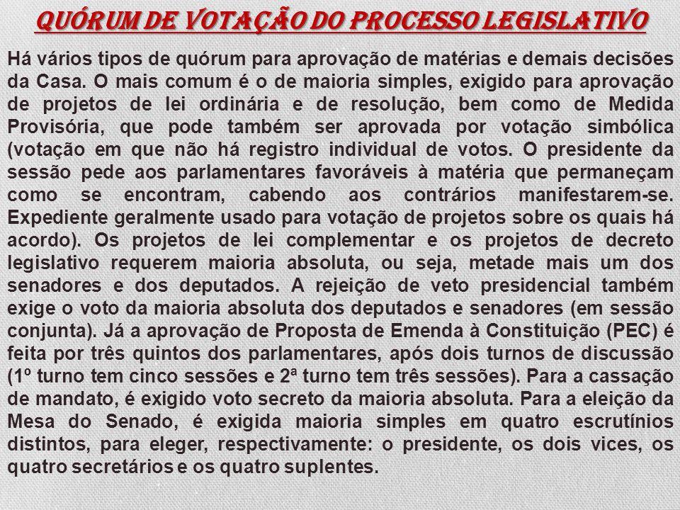 Quórum de votação do processo legislativo Há vários tipos de quórum para aprovação de matérias e demais decisões da Casa. O mais comum é o de maioria
