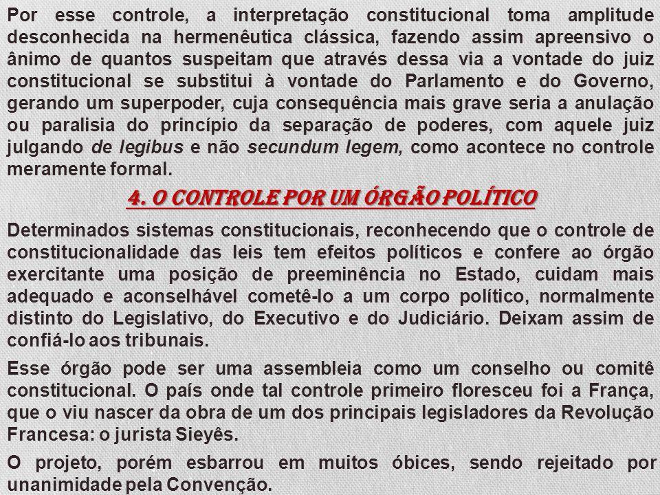As esperanças de estabelecer um verdadeiro controle de constitucionalidade, por via de um órgão mais sério de natureza política, renasceram em França com o Conselho Constitucional da Constituição de 1958.