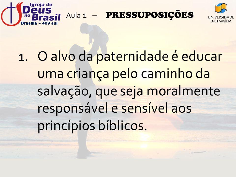 Aula 1 – PRESSUPOSIÇÕES 1.O alvo da paternidade é educar uma criança pelo caminho da salvação, que seja moralmente responsável e sensível aos princípi