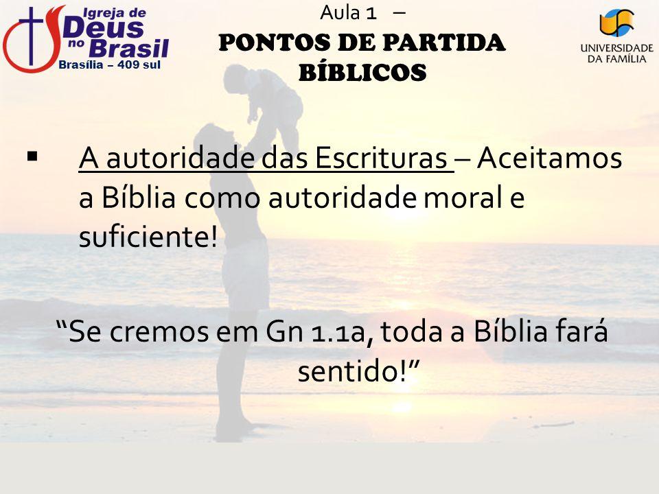 """Aula 1 – PONTOS DE PARTIDA BÍBLICOS  A autoridade das Escrituras – Aceitamos a Bíblia como autoridade moral e suficiente! """"Se cremos em Gn 1.1a, toda"""