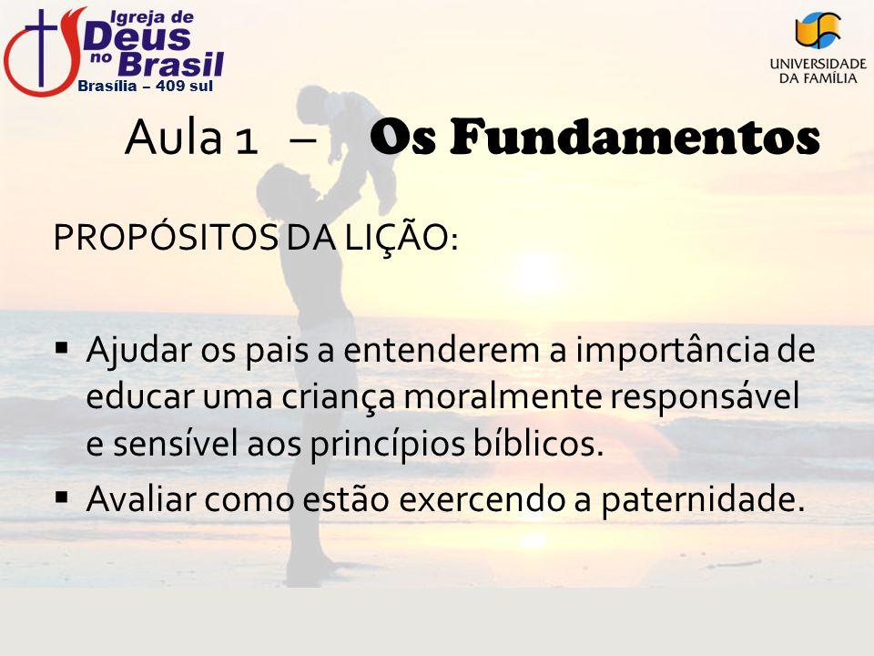 Aula 1 – Os Fundamentos PROPÓSITOS DA LIÇÃO:  Ajudar os pais a entenderem a importância de educar uma criança moralmente responsável e sensível aos p