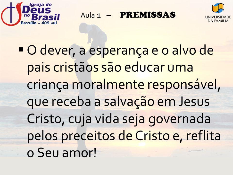 Aula 1 – PREMISSAS  O dever, a esperança e o alvo de pais cristãos são educar uma criança moralmente responsável, que receba a salvação em Jesus Cris