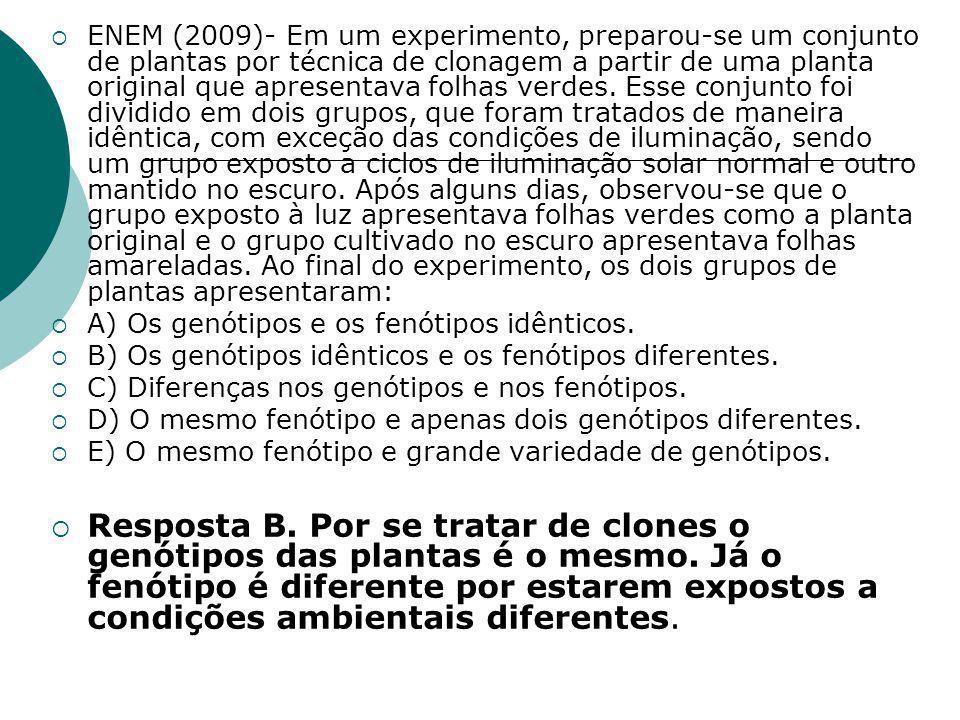  ENEM (2009)- Em um experimento, preparou-se um conjunto de plantas por técnica de clonagem a partir de uma planta original que apresentava folhas verdes.