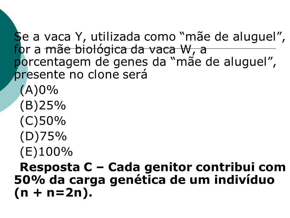  Se a vaca Y, utilizada como mãe de aluguel , for a mãe biológica da vaca W, a porcentagem de genes da mãe de aluguel , presente no clone será (A)0% (B)25% (C)50% (D)75% (E)100% Resposta C – Cada genitor contribui com 50% da carga genética de um indivíduo (n + n=2n).