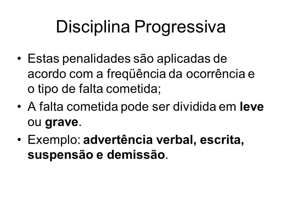 Disciplina Progressiva Estas penalidades são aplicadas de acordo com a freqüência da ocorrência e o tipo de falta cometida; A falta cometida pode ser dividida em leve ou grave.