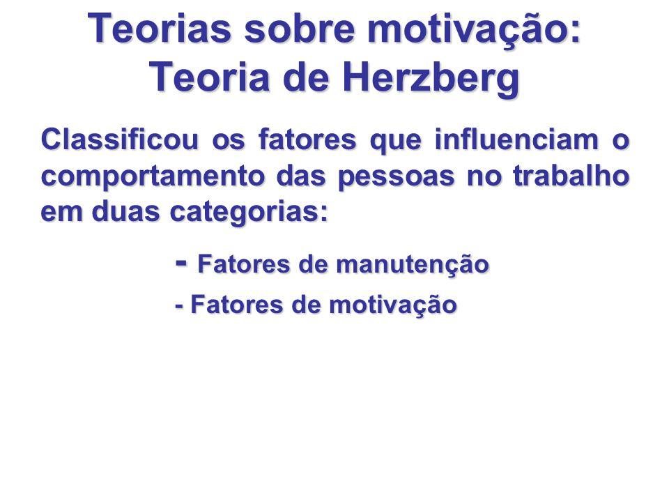 Teorias sobre motivação: Teoria de Herzberg Classificou os fatores que influenciam o comportamento das pessoas no trabalho em duas categorias: - Fatores de manutenção - Fatores de motivação