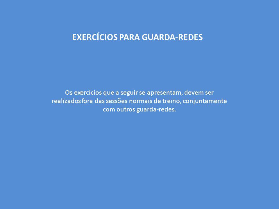 EXERCÍCIOS PARA GUARDA-REDES Os exercícios que a seguir se apresentam, devem ser realizados fora das sessões normais de treino, conjuntamente com outros guarda-redes.