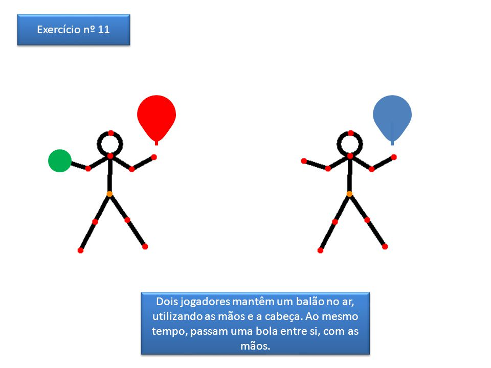 Dois jogadores mantêm um balão no ar, utilizando as mãos e a cabeça. Ao mesmo tempo, passam uma bola entre si, com as mãos. Exercício nº 11