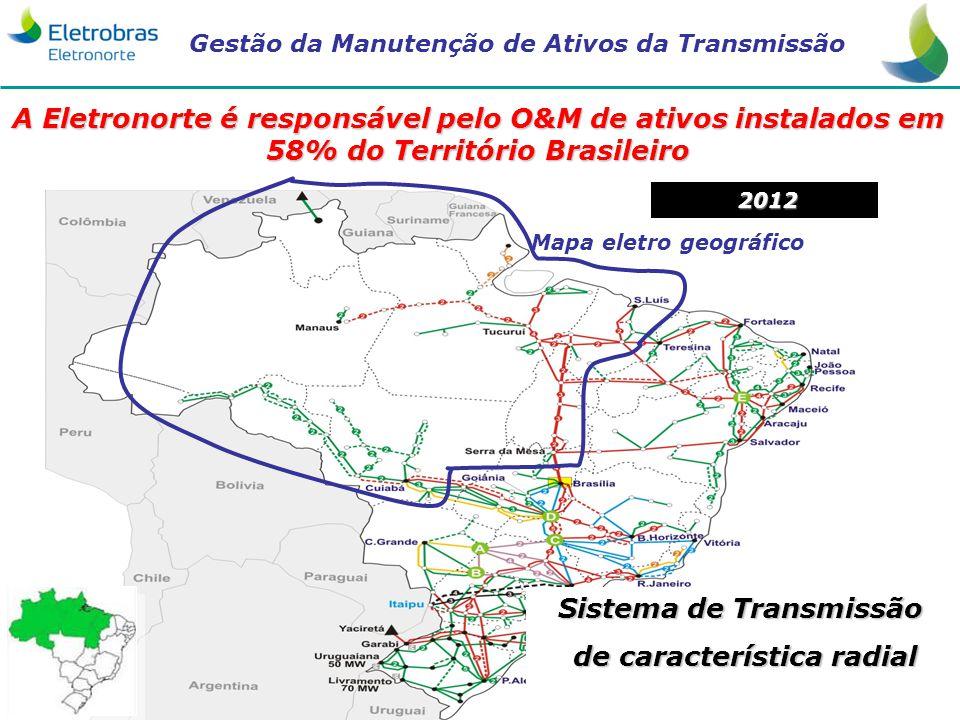 Gestão da Manutenção de Ativos da Transmissão 3 A Eletronorte é responsável pelo O&M de ativos instalados em 58% do Território Brasileiro Mapa eletro