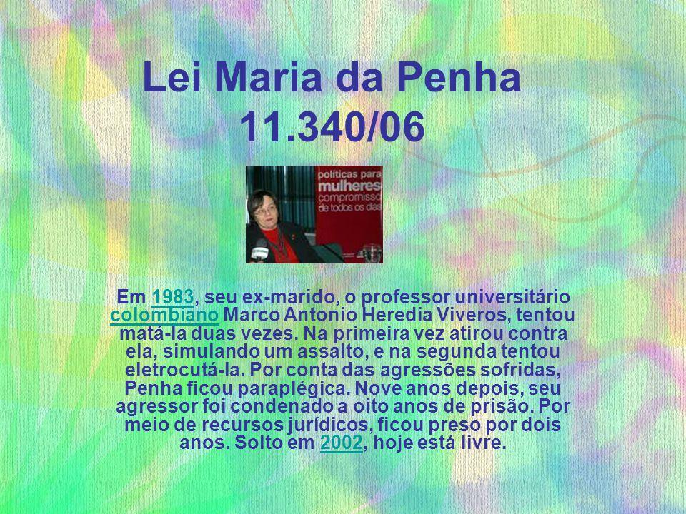 Lei Maria da Penha 11.340/06 Em 1983, seu ex-marido, o professor universitário colombiano Marco Antonio Heredia Viveros, tentou matá-la duas vezes. Na