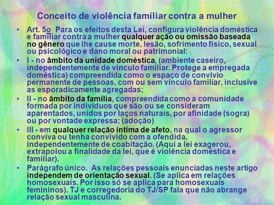 Conceito de violência familiar contra a mulher Art. 5o Para os efeitos desta Lei, configura violência doméstica e familiar contra a mulher qualquer aç