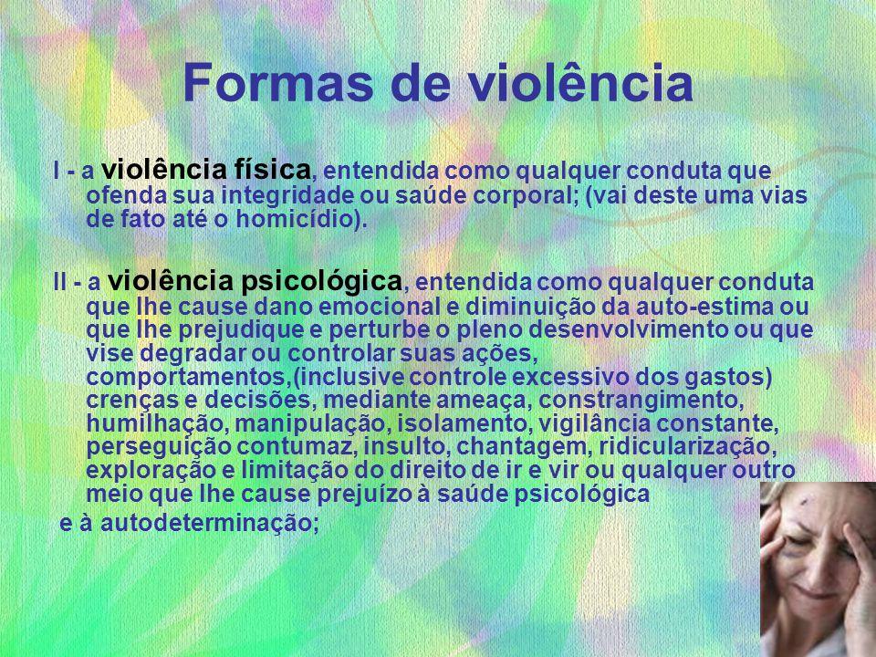 Formas de violência I - a violência física, entendida como qualquer conduta que ofenda sua integridade ou saúde corporal; (vai deste uma vias de fato